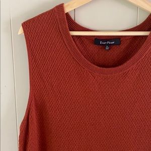 Rust orange Textured crewneck sleeveless sweater